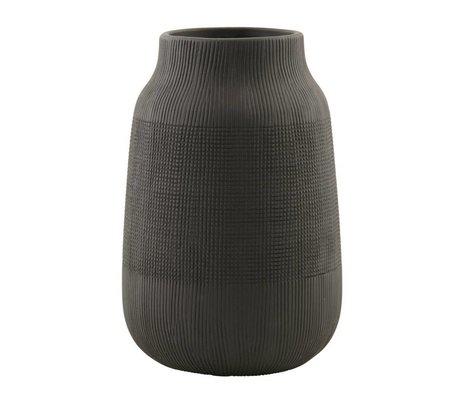 Housedoctor Vaas Groove zwart aardewerk ø15x22cm