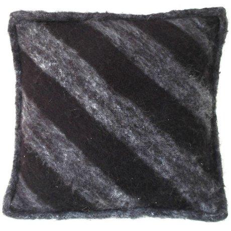 HK-living Sierkussen wol zwart grijs 50x50cm
