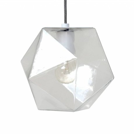 HK-living Hanglamp geo glas 24x24x24cm