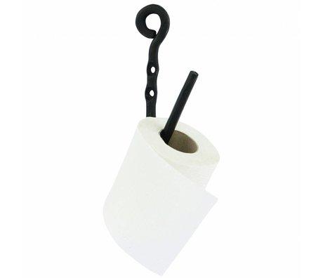 Housedoctor WC rol houder Cast zwart metaal h22cm