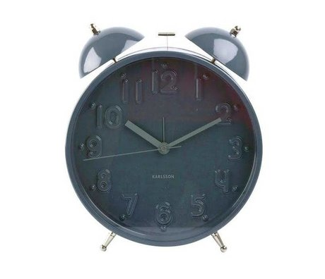 Karlsson Klok alarm wekker Twin bell nude grey large ø22cm