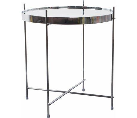 Zuiver Bijzettafel 'Cupid' zilver metaal glas Ø43x45cm