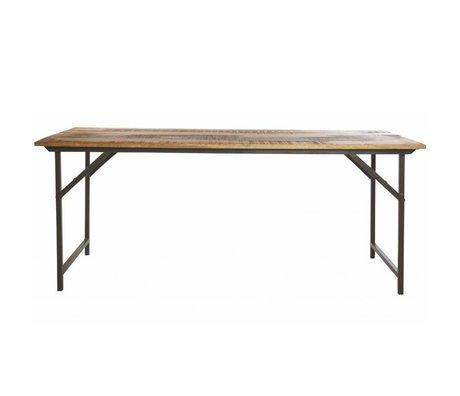 Housedoctor Eettafel 'Party' grijs metaal/hout bruin 180x80x74 cm