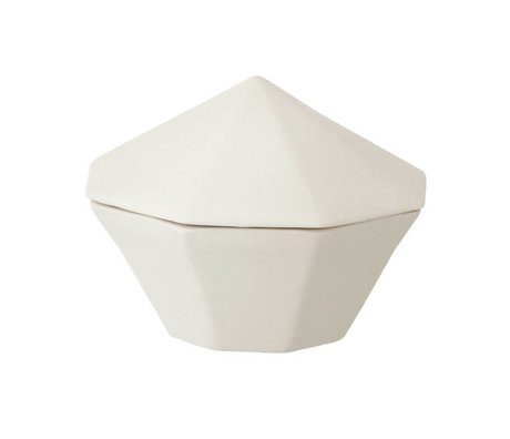 Ferm Living Bakje met deksel porselein wit Treasure Diamond-Small Ø10x7cm