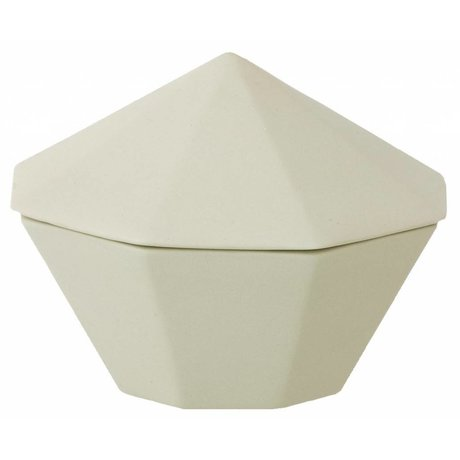 Ferm Living Bakje met deksel porselein mint groen Treasure Diamond-Large Ø12x9cm