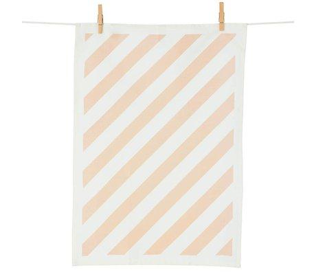 Ferm Living Theedoek Stripe katoen roze/wit 50x70cm