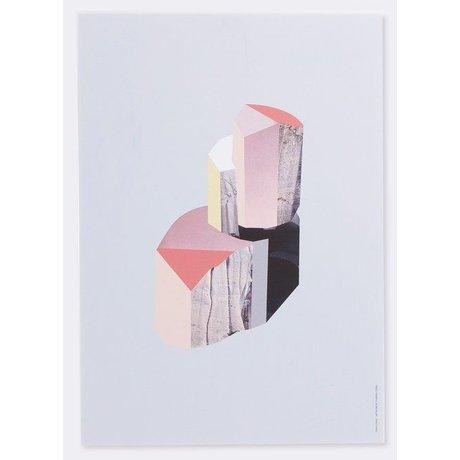 Ferm Living Paneel met illustratie Quartz -1 berken multiplex wit/multicolor 29,7x42 cm
