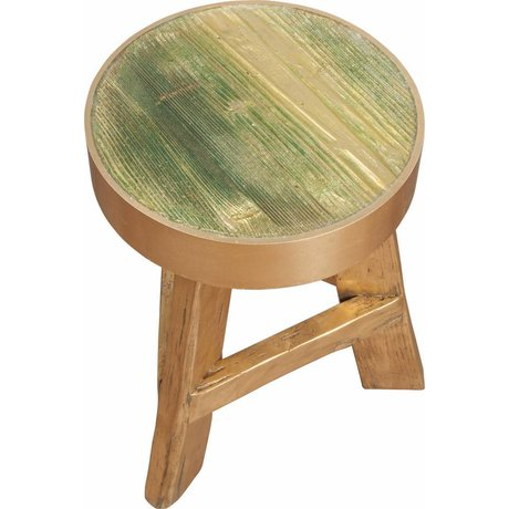 Zuiver Kruk teak hout met gouden rand Ø32x45cm, Stool gold rush