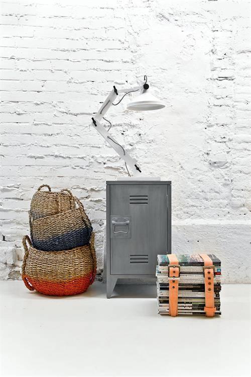 Nachtkastje Set Van 2.Hk Living Nachtkastje Locker Set Van 2 Grijs Hout 65x36x33cm