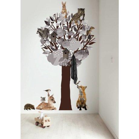 KEK Amsterdam Muursticker/Kapstok grijs 120x220cm Forest Friends Tree XL muurfolie