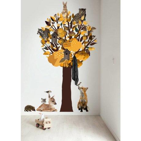 KEK Amsterdam Muursticker/Kapstok geel 120x220cm Forest Friends Tree XL muurfolie