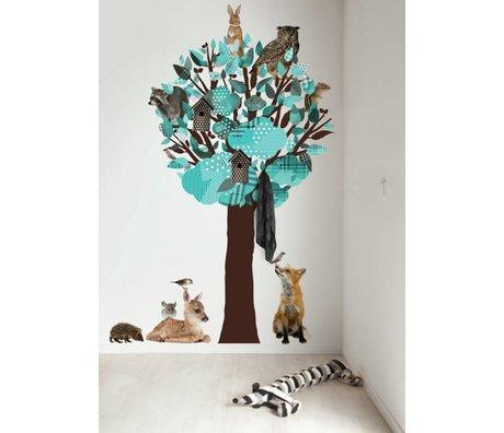 KEK Amsterdam Muursticker/Kapstok turquoise 120x220cm Forest Friends Tree XL muurfolie
