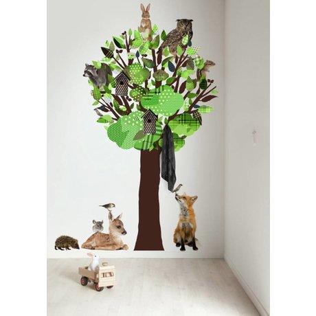 KEK Amsterdam Muursticker/Kapstok groen 120x220cm Forest Friends Tree XL muurfolie