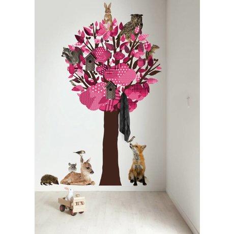 KEK Amsterdam Muursticker/Kapstok roze 120x220cm Forest Friends Tree XL muurfolie