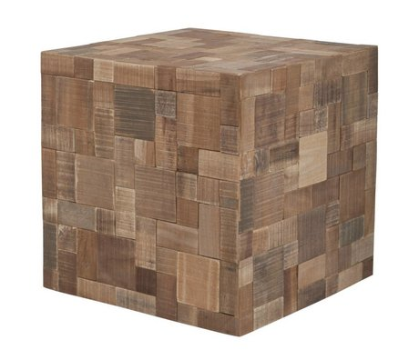 Zuiver Poef hout bruin 40x40x40cm, Mosaic patchwork