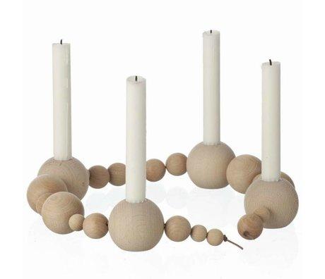 Ferm Living Kandelaar naturel hout 85cm, Candleholder String
