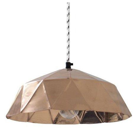 HK-living Hanglamp oranje koper metaal Ø32x15cm, Koperen lamp diamant