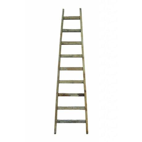 HK-living Ladder bruin naturel gerecycled teak hout 217x56cm