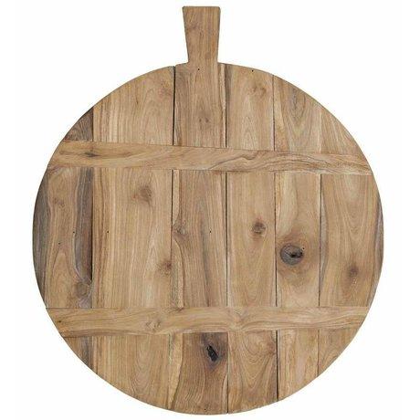 HK-living Broodplank bruin teak hout Ø50cm - L