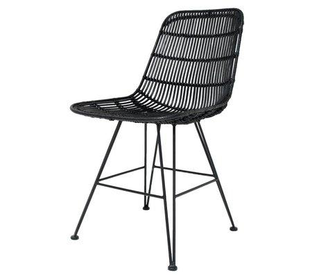 HK-living Eetkamerstoel zwart metaal/rotan 80x44x57cm, rotan stoel