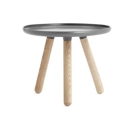 Normann Copenhagen Tafel Tablo donker grijs kunststof essen hout ø50cm