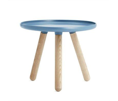 Normann Copenhagen Tafel Tablo blauw kunststof essen hout ø50cm