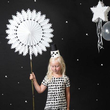 A Little Lovely Company Deco Fan ster wit papier Ø76cm
