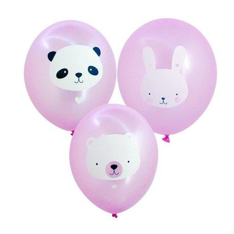 A Little Lovely Company Ballon Baby animals roze 35cm