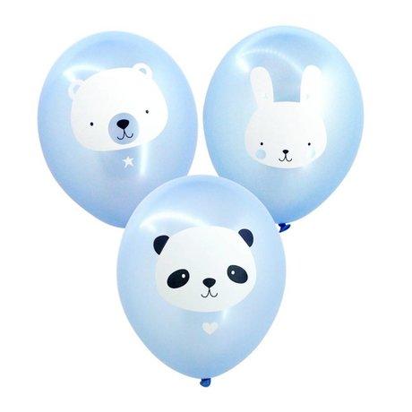 A Little Lovely Company Ballon Baby animals blauw 35cm