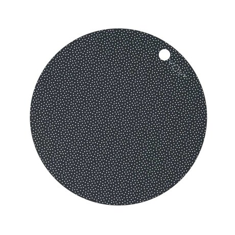 OYOY Placemat Dot Print wit donker grijs sillecone set van twee 39x0,15cm