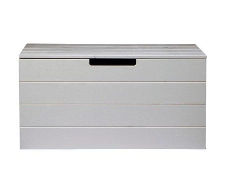 LEF collections Opbergkist Keet beton grijs geborsteld grenen 42X80X40cm