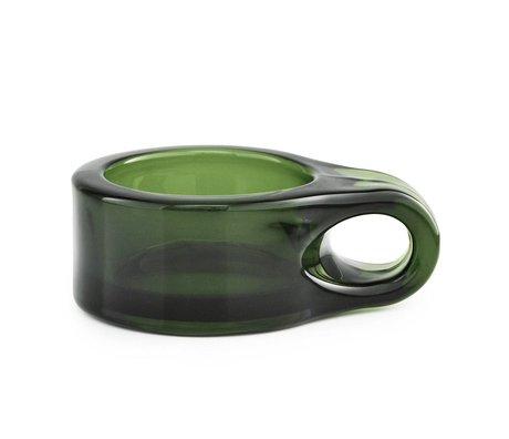 Normann Copenhagen Waxinelichthouder Floe donker groen glas 9x7x3cm