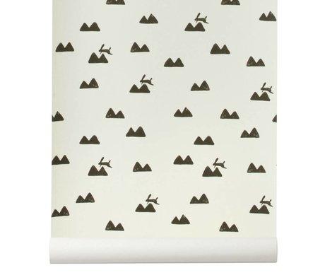 Ferm Living Behang Rabbit gebroken wit zwart 10x0,53m