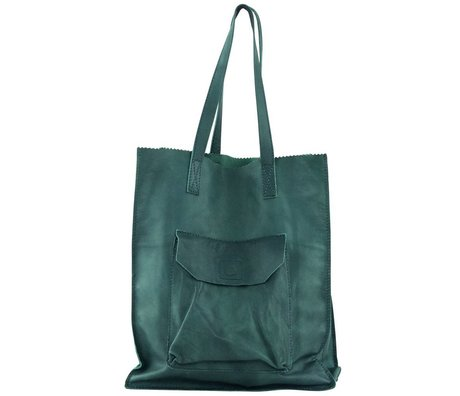 Housedoctor Tas met hengsels groen geiten leer 30x10xh36cm, bag the bag
