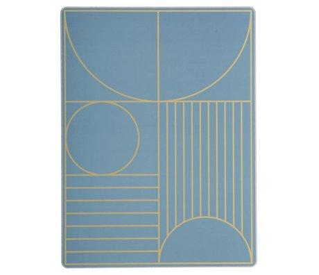 Ferm Living Placemat Outline dusty blauw hout kurk 40x30cm