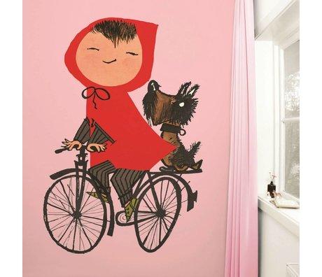 KEK Amsterdam Behang Riding my Bike pink multicolour vliespapier 243,5x280cm