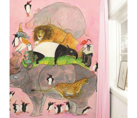 KEK Amsterdam Behang Jumping Pinguins multicolour vliespapier 243,5x280cm
