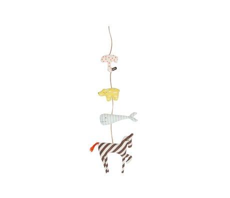 OYOY Dierenslinger Mobile Animal multicolour katoen 80cm