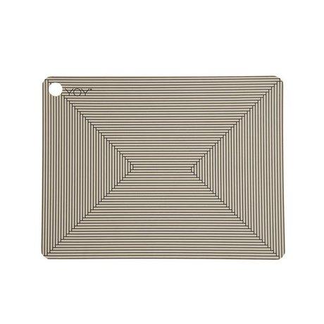 OYOY Placemat CLAY bruin zwart silicone set van twee 45x34x0,15cm