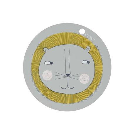 OYOY Placemat Leeuw grijs siliconen 39x0,15cm