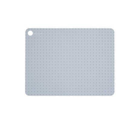 OYOY Placemat PALE GREY BLUE silicone set van twee 45x34x0,15cm