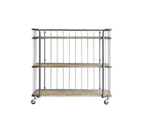 BePureHome Trolley Giro medium grijs bruin metaal hout 94x41x89cm