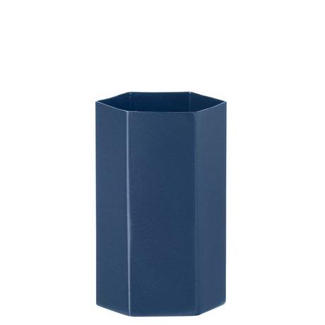 Ferm Living Vaas Hexagon blauw Ø7x12cm
