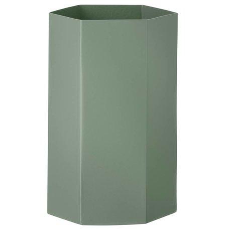 Ferm Living Vaas Hexagon dusty groen Ø12x21cm