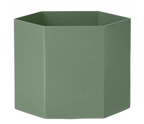 Ferm Living Pot Hexagon dusty groen Ø18x16cm- Extra large