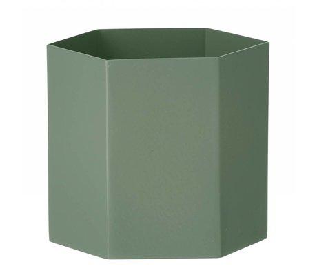 Ferm Living Pot Hexagon dusty groen Ø13,5x12cm- Large