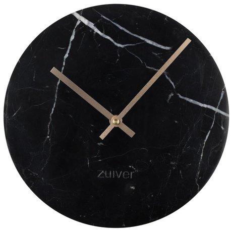 Zuiver Klok Marble goud zwart aluminium marmer Ø25x4,5cm