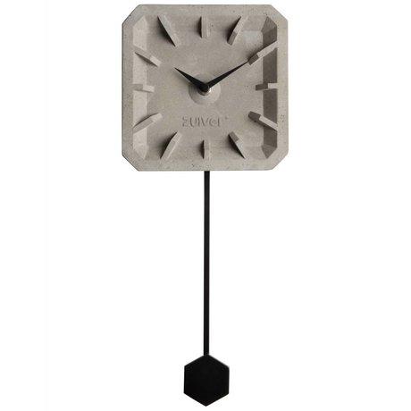 Zuiver Klok Tiktak Time grijs zwart beton aluminium 15,5x37,5x4cm