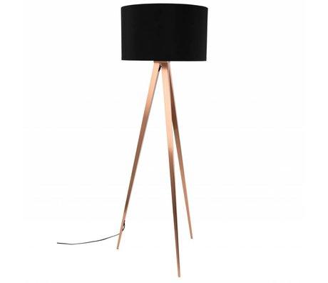 Zuiver Vloerlamp Tripod zwart textiel metaal koper 154,5x50cm