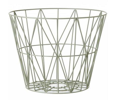 Ferm Living Mand dusty groen ijzer 3 maten 40x35cm,50x40cm,60x45cm wire basket